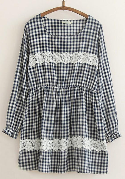 Navy Blue Plaid Lace Long Sleeve Dress