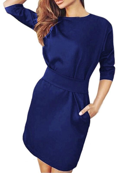 Navy Blue Pockets Round Neck 3/4 Sleeve Mini Dress