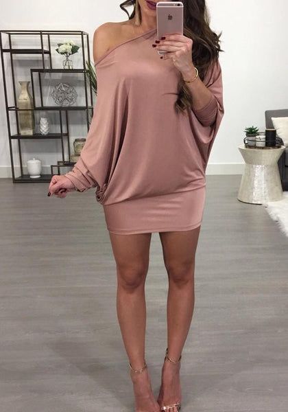 Pink Asymmetric Shoulder Round Neck Long Sleeve Fashion Mini Dress