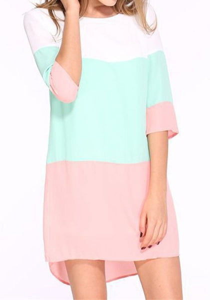 Pink Color Block Buttons Round Neck 3/4 Sleeve Mini Dress
