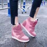 Pink Flat Within The Higher Velcro Casual Shoes