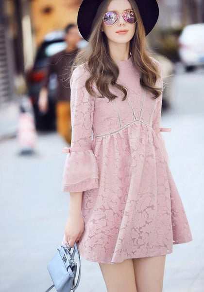 Pink Floral Lace Zipper Grenadine Pleated 3/4 Sleeve Elegant Mini Dress