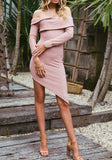Pink Irregular Off Shoulder Double-deck Long Sleeve High-Low Trendy Party Mini Dress