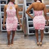 Pink Patchwork Cut Out Lace Zipper Fashion Mini Dress