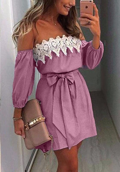 Pink Patchwork Hollow-out Lace Belt Wavy Edge Fashion Mini Dress
