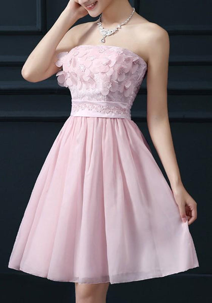 Pink Patchwork Lace Appliques Bandeau Sleeveless Chiffon Sweet Mini Dress