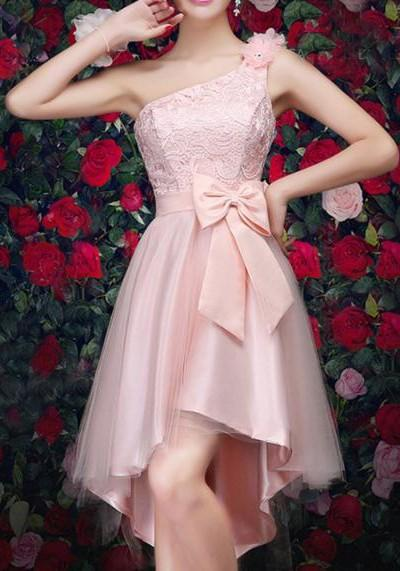 Pink Patchwork Lace Bow Oblique Shoulder Tutu Grenadine Bridemaid Prom Mini Dress