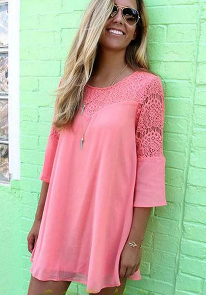 Pink Patchwork Lace Cut Out Round Neck Three Quarter Length Sleeve Sweet Mini Dress