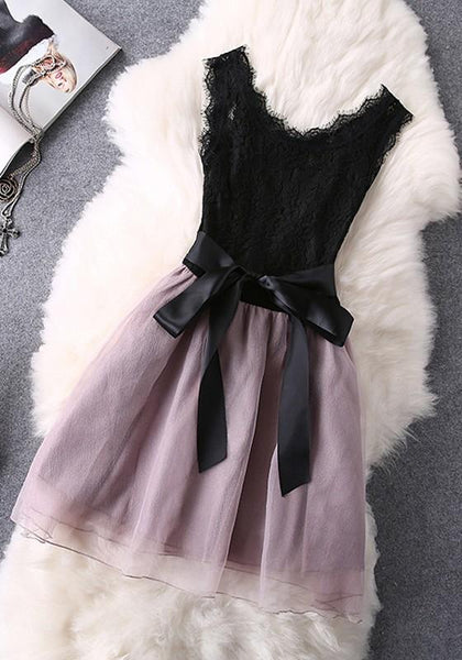 Pink Patchwork Lace Zipper Round Neck Sleeveless Mini Dress