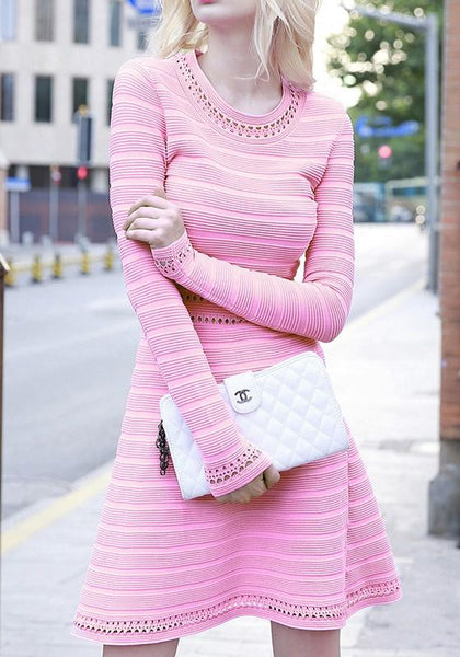 Pink Plain Hollow-out Round Neck A-line Cute Homecoming Knit Mini Dress