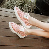 Pink Point Toe Flat Lace Hollow-out Fashion Ankle Lace-up Shoes