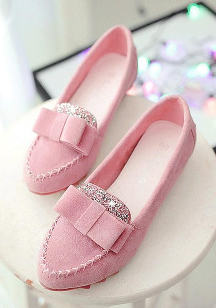 Pink Round Toe Flat Bow Rhinestone Casual Shoes