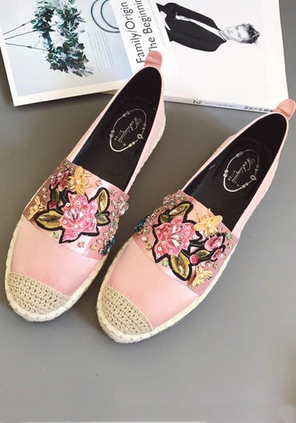 Pink Round Toe Flat Embroidery Rhinestone Casual Shoes