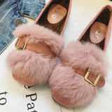Pink Round Toe Flat Faux Fur Patchwork Sweet Shoes