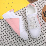 Pink Round Toe Flat Lace-up Casual Shoes