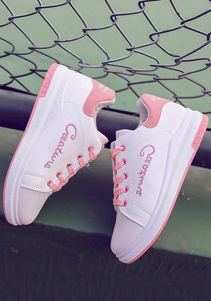 Pink Round Toe Flat Letter Pattern Lace-up Casual Shoes