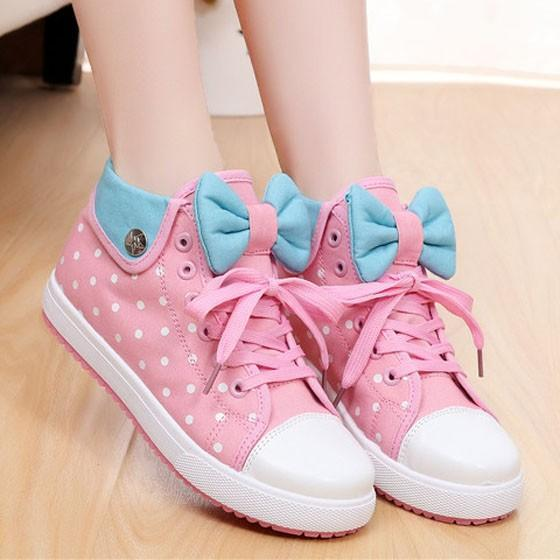 Pink Round Toe Flat Polka Dot Print Bow Cute Canvas Shoes