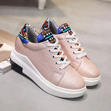Pink Round Toe Flat Print Lace-up Casual Heavy-Soled Shoes