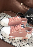Pink Round Toe Flat Print Lace-up Casual Shoes
