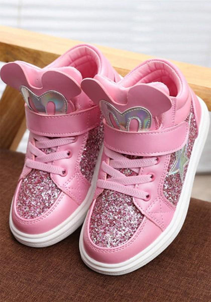 Pink Round Toe Flat Sequin Cute Children's Shoes