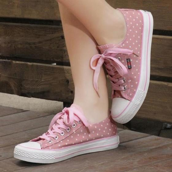 Pink Round Toe Floral Print Sweet Cloth Shoes