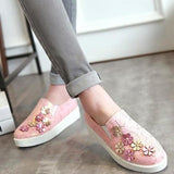 Pink Round Toe Flower Patchwork Slip-On Sweet Shoes