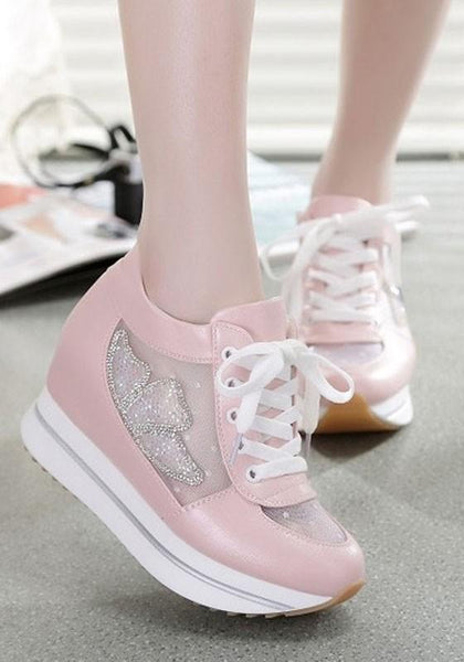 Pink Round Toe Heavy-Soled Grenadine Patchwork Casual Shoes