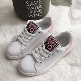 Pink Round Toe Within The Higher Lace-up Casual Shoes