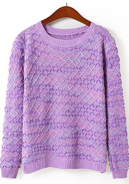 Purple Patchwork Long Sleeve Sweater