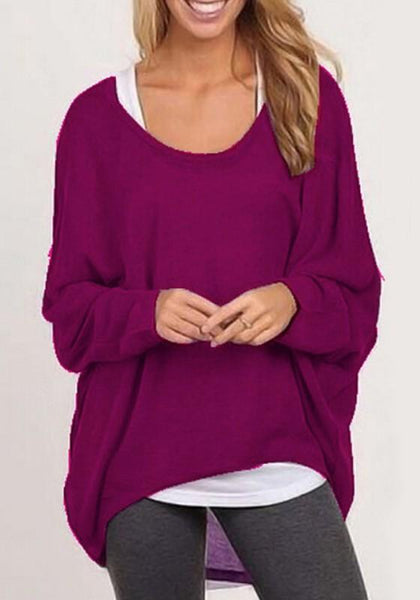 Purple Plain Irregular Round Neck Casual Pullover Sweater