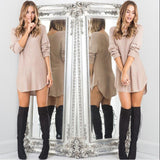 Trendy Long Sleeve Solid Loose Mini Dresses