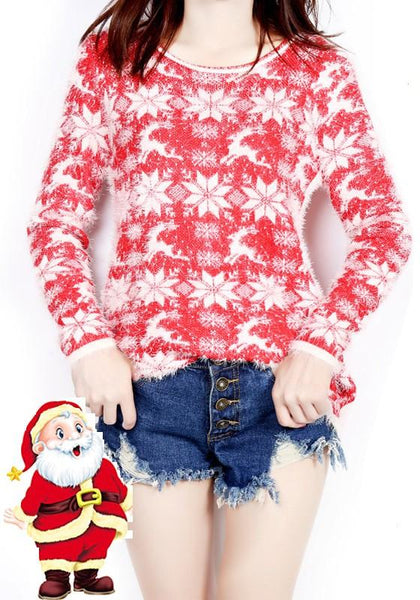 Red Cartoon Christmas Snowflake Print Round Neck Cute Pullover Sweater
