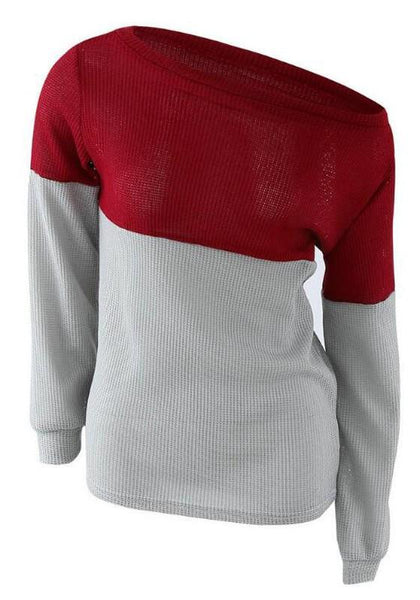 Red Color Block Pattern Boat Neck Fashion Polyester Pullover Sweater