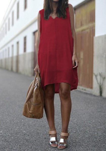 Red Draped Irregular V-neck Sleeveless Casual Mini Dress