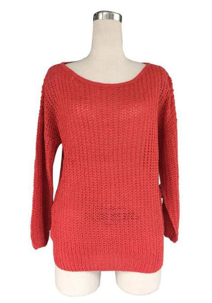 Red Plain Asymmetric Shoulder Boat Neck Fashion Cotton Pullover Sweater