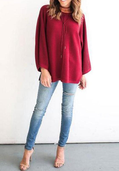 Red Plain Draped Irregular Wide Sleeve Round Neck Casual Pullover Sweater