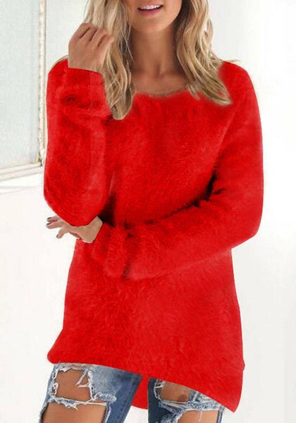 Red Plain Fur Round Neck Fashion Pullover Sweater