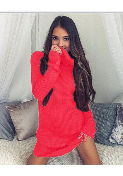 Red Plain High Neck Casual Mini Dress
