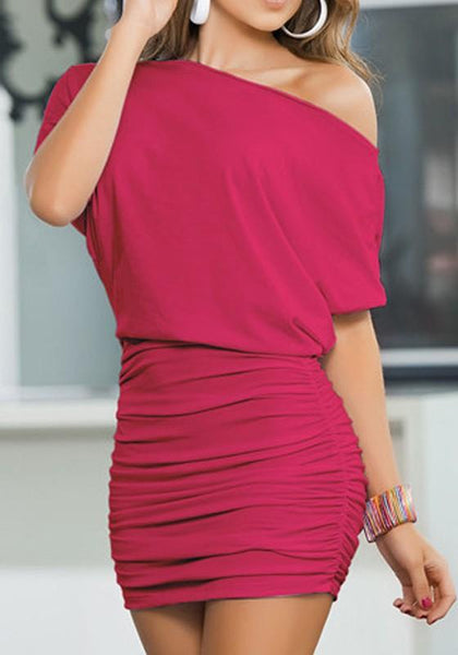 Red Plain Pleated Round Neck Short Sleeve Mini Dress