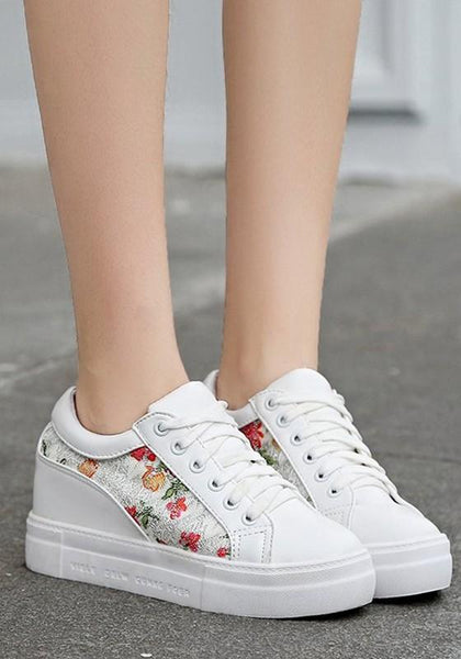 Red Round Toe Flat Floral Print Lace-up Casual Shoes