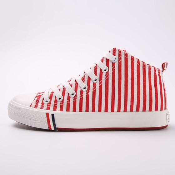 Red Round Toe Flat Striped Print Casual Canvas Shoes