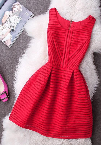 Red Striped Hollow-out Lace Zipper Round Neck Mini Dress
