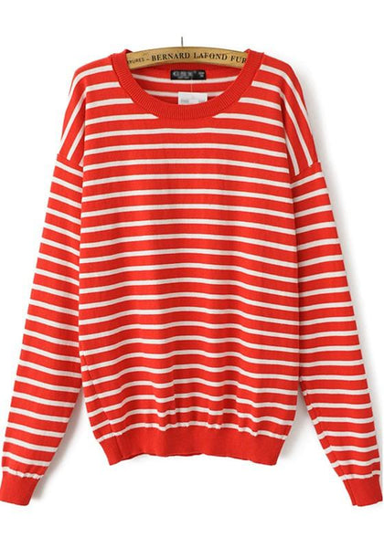 Red-White Striped Print Long Sleeve Sweater