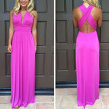 Rose Carmine Plain Draped Plunging Neckline Bohemian Polyester Maxi Dress