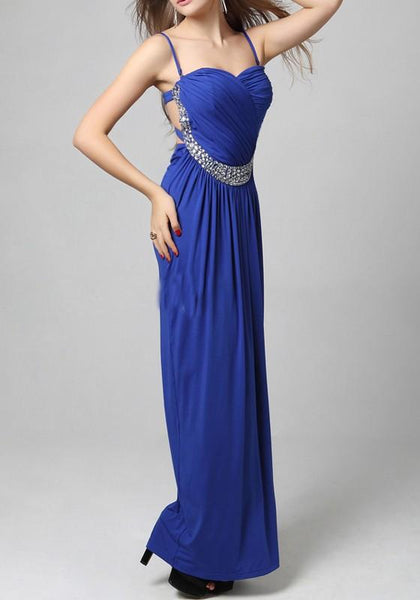 Sapphire Blue Plain Condole Belt Cut Out Rhinestone Maxi Dress