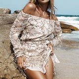 Silver Plain Belt Sequin Boat Neck Long Sleeve Mini Dress