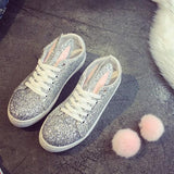 Silver Round Toe Flat Faux Fur Furball Lace-up Casual Shoes