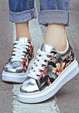 Silver Round Toe Flat Floral Print Casual Ankle Shoes