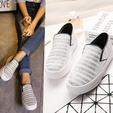 Silver Round Toe Flat Striped Print Casual Shoes