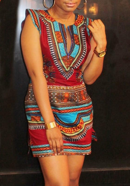 Tribal African Print Geometric Pattern Round Neck Casual Boho Aztec Mini Dress